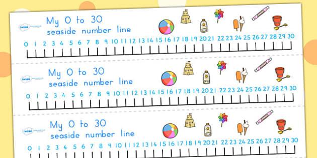 Seaside Number Line 0-30 - numberline, seaside, numeracy, aidd