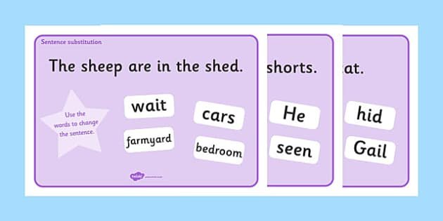 Phase 3 Sentence Substitution Activity Mats - phase 3, phase three, sentence substitution, sentence structure,  sentence building, building sentences, activity, mat, new sentences