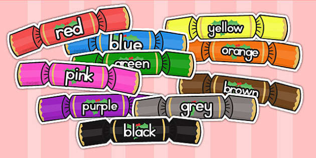 Australia Colour Words On Christmas Crackers - colours, keywords, christmas