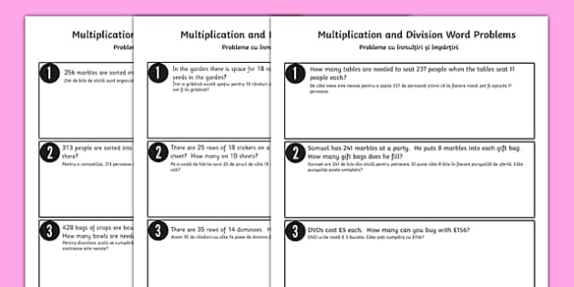 Differentiated Multiplication and Division Word Problems Romanian Translation - romanian, multiplication, division, word problems