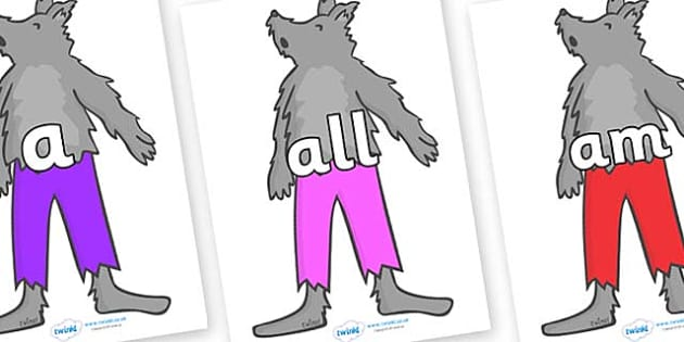 Foundation Stage 2 Keywords on Werewolf- FS2, CLL, keywords, Communication language and literacy,  Display, Key words, high frequency words, foundation stage literacy, DfES Letters and Sounds, Letters and Sounds, spelling
