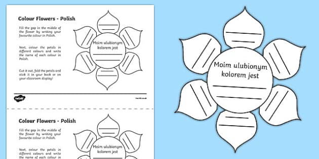 MFL Polish Colour Flowers Activity Sheet, worksheet