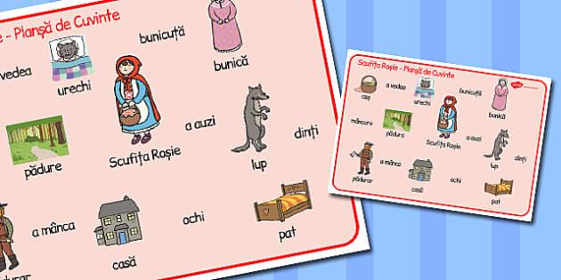 Scufița Roșie - Planșă cu imagini și cuvinte
