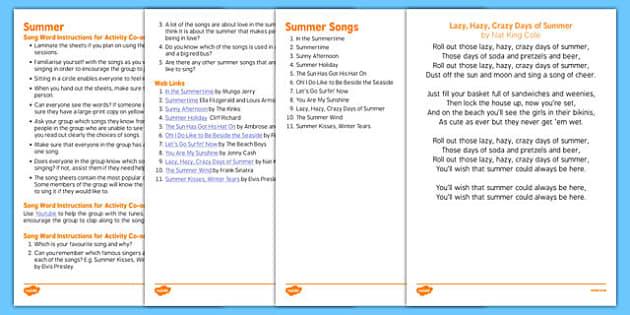 Elderly Care Summer Song Words - Elderly, Reminiscence, Care Homes, Summer