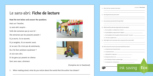 Sans-abri : Fiche de lecture en français - french, Literature, littérature, lecture, reading, homeless, sans-abri
