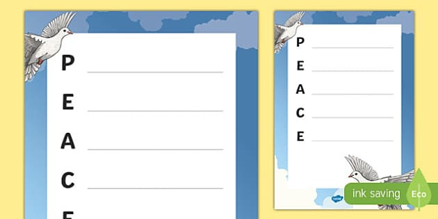 International Day of Peace Acrostic Poem