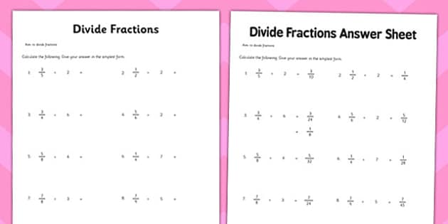 Year 6 Divide Fractions Activity Sheet maths ks2 upper key – Division of Fraction Worksheet