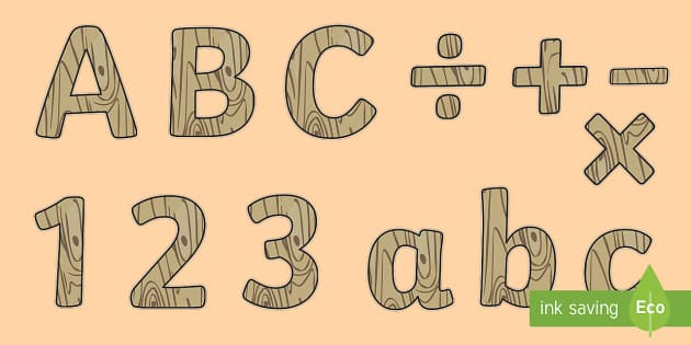 Rustic Chic Themed Display Letters and Numbers Pack - Classroom Display Packs, letters, upper case, lower case, symbols, numbers, display, wood, materials