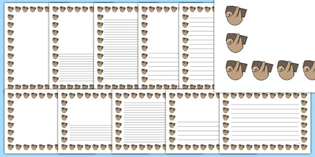 Sloth Page Borders - sloth, page borders, page, borders, animals, jungle
