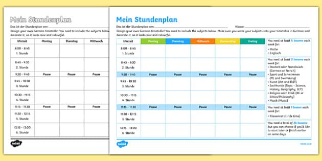 Design Your Own School Timetable Activity Sheet German , worksheet