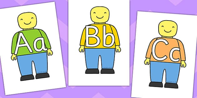 A to Z on Brick Person - alphabet, brick, person, a-z, display