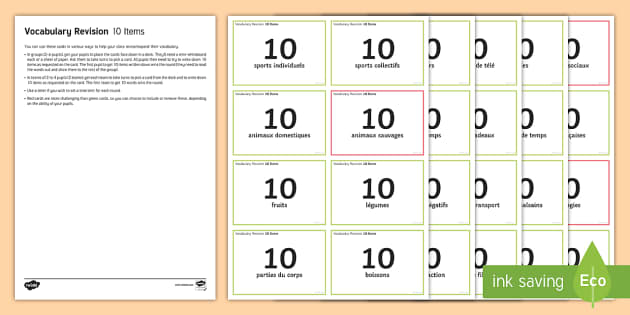 Vocabulary Revision 10 Items Challenge Cards French - French, End of Year Activities, Vocabulary, revision, vocabulaire,French