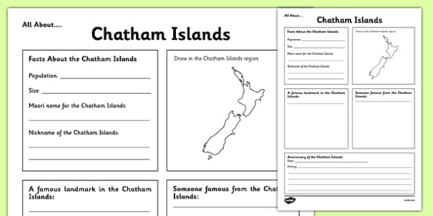 All About Chatham Islands Writing Frame - Chatham Islands, Anniversary, city, research