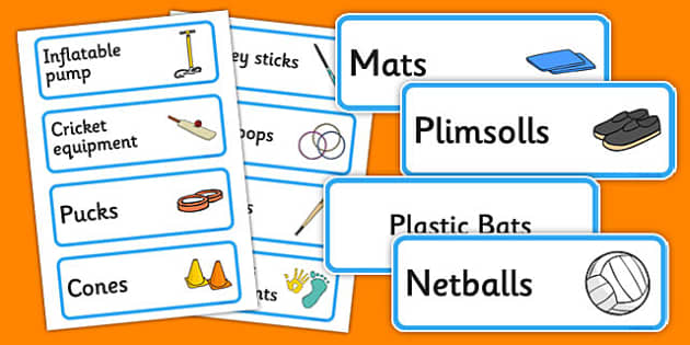 Sports Themed Editable PE Resource Labels - Themed PE label, PE equipment, PE, physical education, PE cupboard, PE, physical development, quoits, cones, bats, balls, Resource Label, Editable Labels, KS1 Labels, Foundation Labels, Foundation Stage Lab