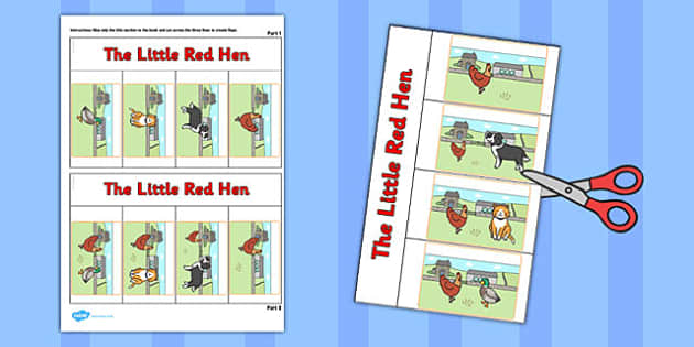 The Little Red Hen Story Writing Flap Book - flap book, story