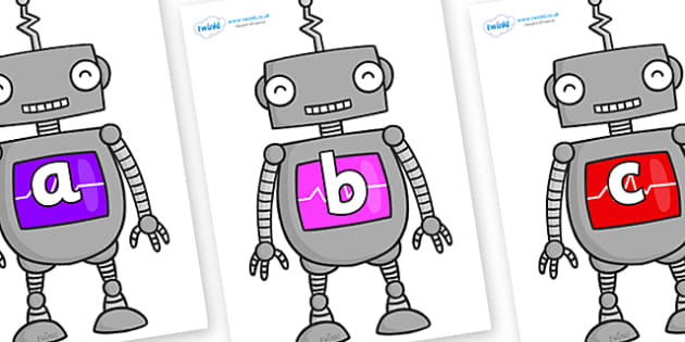 Phase 2 Phonemes on Robots - Phonemes, phoneme, Phase 2, Phase two, Foundation, Literacy, Letters and Sounds, DfES, display