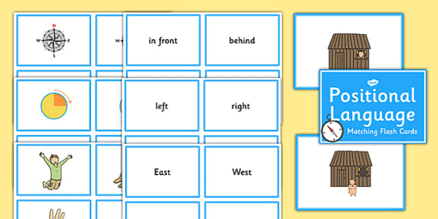 Positional Language Word and Picture Matching Cards - positional language, position, language, word, picture, match, cards