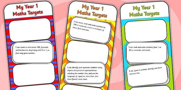 2014 Curriculum Year 1 Maths Target Bookmarks - numeracy, ks1