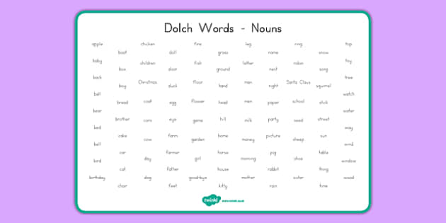 Dolch Words Word Mat Nouns - usa, dolch, words, word mat, word, mat, nouns