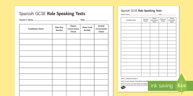 Spanish GCSE Speaking Test Sequence Template - Spanish Speaking Practice, gcse, spanish, speaking, test, sequence, template, teacher