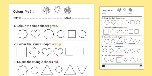 Colour in the Correct Shape Recognition Activity Sheet- shapes, maths, 2D shape, sort, circle, square, triangle, star, heart