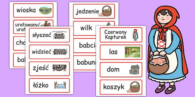 Karty ze slownictwem Czerwony Kapturek po polsku - basnie , Polish