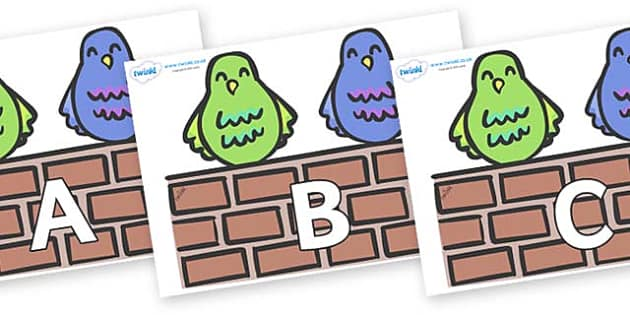 A-Z Alphabet on Two Little Dickie Birds - A-Z, A4, display, Alphabet frieze, Display letters, Letter posters, A-Z letters, Alphabet flashcards