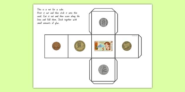 New Zealand Money Dice cube net