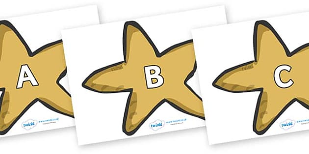 A-Z Alphabet on Starfish - A-Z, A4, display, Alphabet frieze, Display letters, Letter posters, A-Z letters, Alphabet flashcards