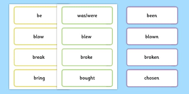 Irregular Verbs Base Simple Past and Past Participle Matching Labels - verbs, irregular verbs, simple past, past participle