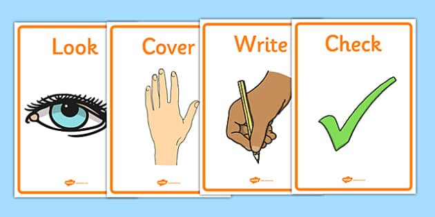 Look, Cover, Write, Check Display Posters Visual Aids - look, cover, write, check, display posters, display, posters, visual aid