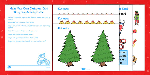 Make Your Own Christmas Card Busy Bag Resource Pack for Parents - Christmas, EYFS, card, busy bag