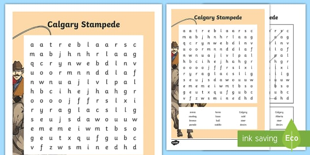 Calgary Stampede Word Search - Calgary Stampede Resources, word search, languages, spelling, writing.