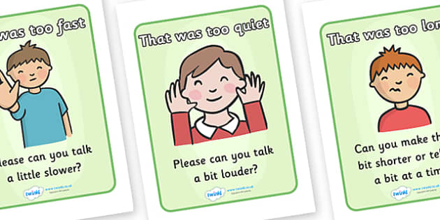 Comprehension Self Monitoring Posters - comprehension, self monitoring, that was too fast, please, repeat, talk slower, talk louder, display, poster, sign