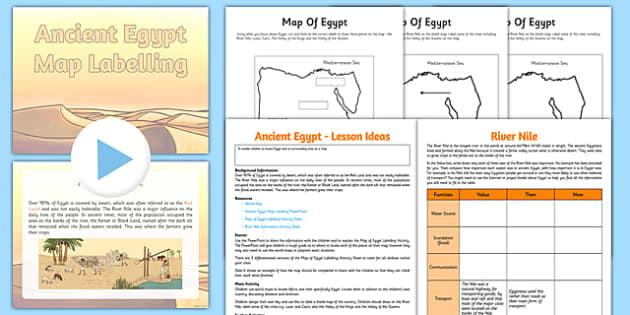 Ancient Egypt Map Lesson - CfE, Social Studies, Ancient Egypt, maps, keys, the River Nile