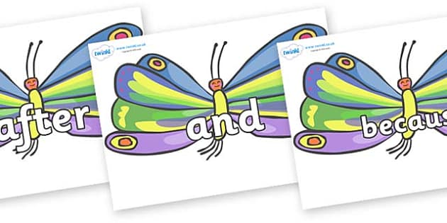 Connectives on Butterflies to Support Teaching on The Very Hungry Caterpillar - Connectives, VCOP, connective resources, connectives display words, connective displays