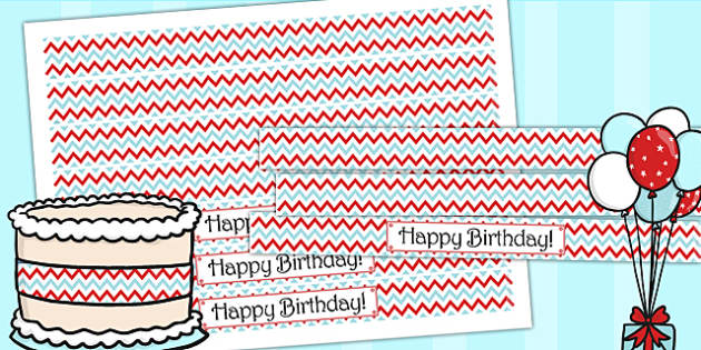 Zig Zag Birthday Party Cake Ribbon Red And Blue - birthday, party