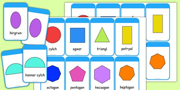 Cardiau Siapiau 2D - cymreag, welsh, 2d shape, cards, 2d, shape, maths, numeracy