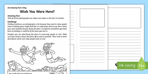Wish You Were Here? Activity Sheet, worksheet