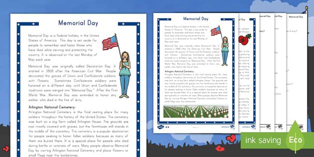 Memorial Day Differentiated Reading Comprehension Activity -  servicemen, servicewomen, commemoration, veterans, USA, celebrations
