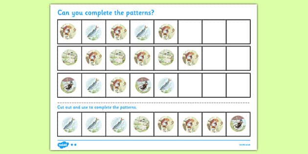 Beatrix Potter - The Tale of Mr Jeremy Fisher Complete the Pattern Worksheets - beatrix potter, jeremy fisher