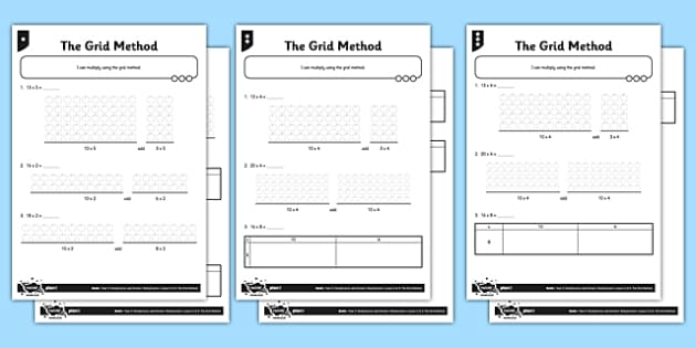 Year 3 Differentiated The Grid Method Activity Sheet Pack - grid method, distributive, multiply multiples of 10, differentiated activity, worksheet