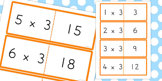 3 Times Table Cards - australia, times table, times tables, cards, 3, times