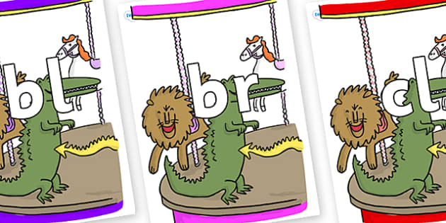 Initial Letter Blends on Trick 3 to Support Teaching on The Enormous Crocodile - Initial Letters, initial letter, letter blend, letter blends, consonant, consonants, digraph, trigraph, literacy, alphabet, letters, foundation stage literacy