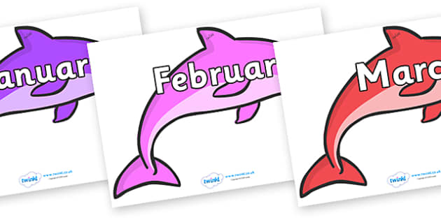 Months of the Year on Dolphins (Multicolour) - Months of the Year, Months poster, Months display, display, poster, frieze, Months, month, January, February, March, April, May, June, July, August, September