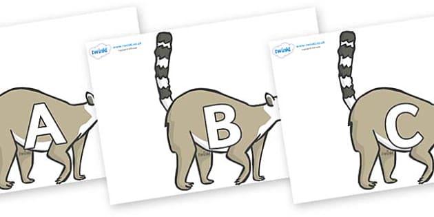 A-Z Alphabet on Lemurs - A-Z, A4, display, Alphabet frieze, Display letters, Letter posters, A-Z letters, Alphabet flashcards
