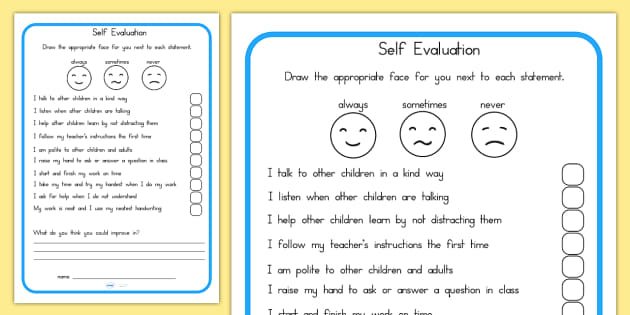 Self Evaluation Sheet - behaviour management, self evaluation