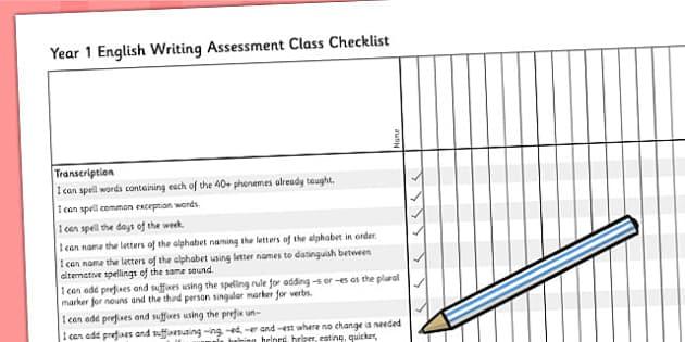2014 Curriculum Year 1 English Writing Assessment Class Checklist