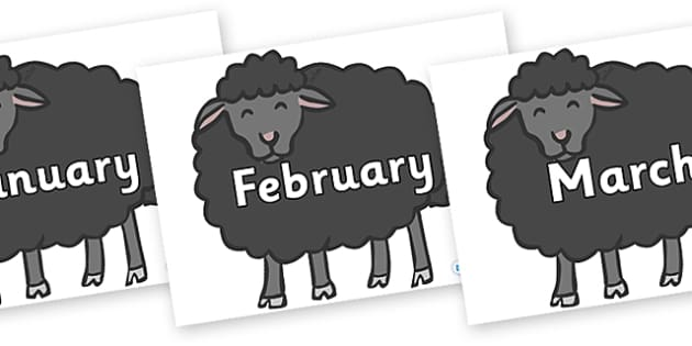 Months of the Year on Baa Baa Black Sheep - Months of the Year, Months poster, Months display, display, poster, frieze, Months, month, January, February, March, April, May, June, July, August, September