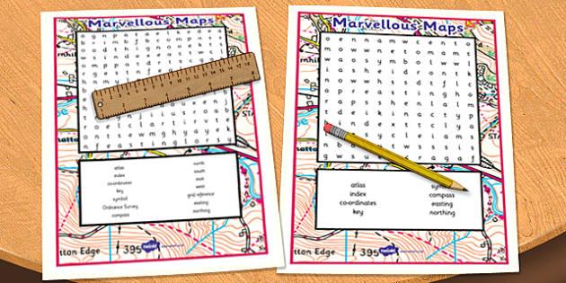 Marvellous Maps Wordsearch - marvellous maps, wordsearch, activity